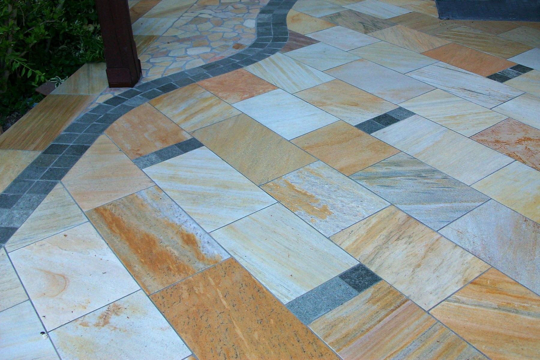 Quarzit Gelb Bodenplatten2