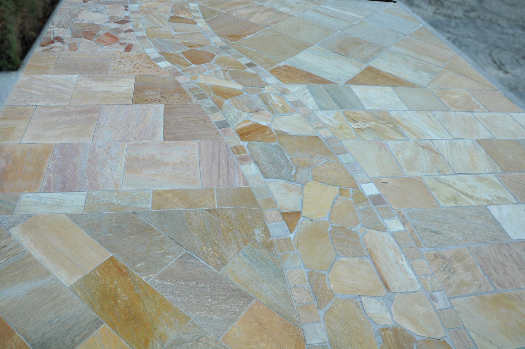 Quarzit Gelb Polygonalplatten9